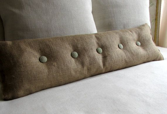 With sage burlap buttons sofa or long bed pillow on etsy 65 00
