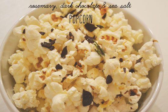 Rosemary, sea salt, coconut butter & dark chocolate popcorn.