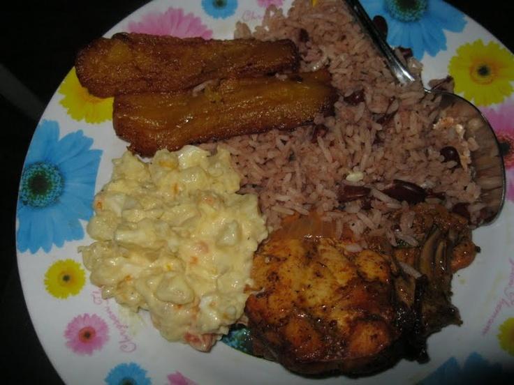 Belize National Sunday Dinner 1-2-3 Rice, Potatoe Salad, Stew Chicken ...