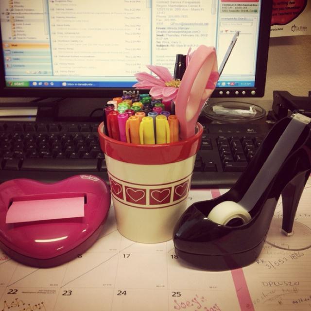 86 best desk stuff organization images on pinterest girly office desk accessories - Girly office desk accessories ...