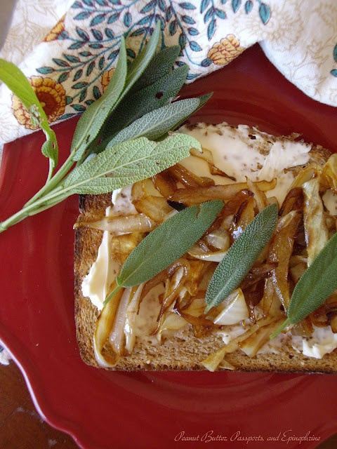 Maple-glazed Caramelized Onion Tartine with Sage and Goat Cheese