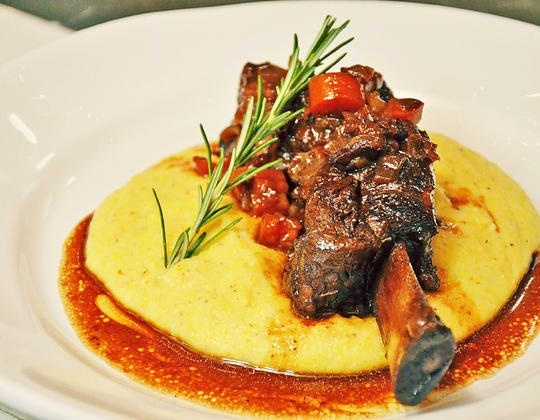 Chipolte Braised Short Ribs with Creamy Polenta