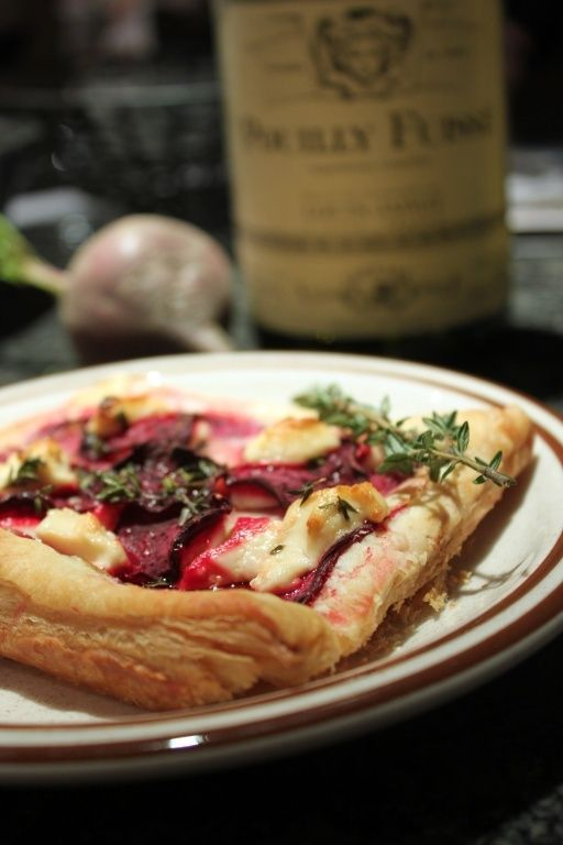 Goat cheese, pear, beet tart. Use puff pastry or non gluten option ...