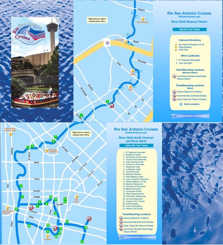 Rio san antonio map river taxi map san antonio pinterest