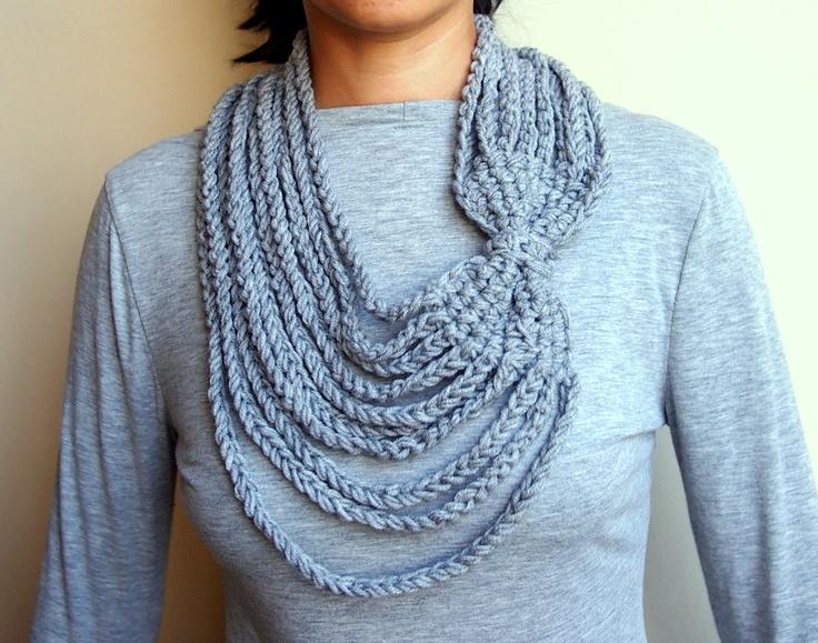 PDF crochet pattern  Loop infinity bow scarf  crochet chain vintage  Chain Infinity Scarf Crochet Pattern