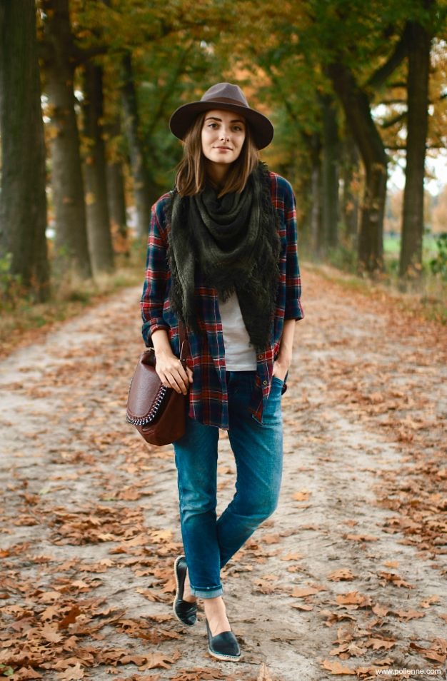 Tshirt, jeans, flannel, scarf, hat, flats #fallstyle