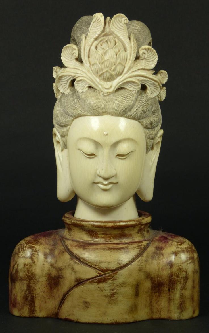 Chinese carved ivory art buddhist pinterest