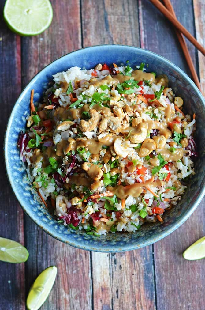 Thai Cashew Coconut Rice with Ginger Peanut Dressing. This rice salad ...