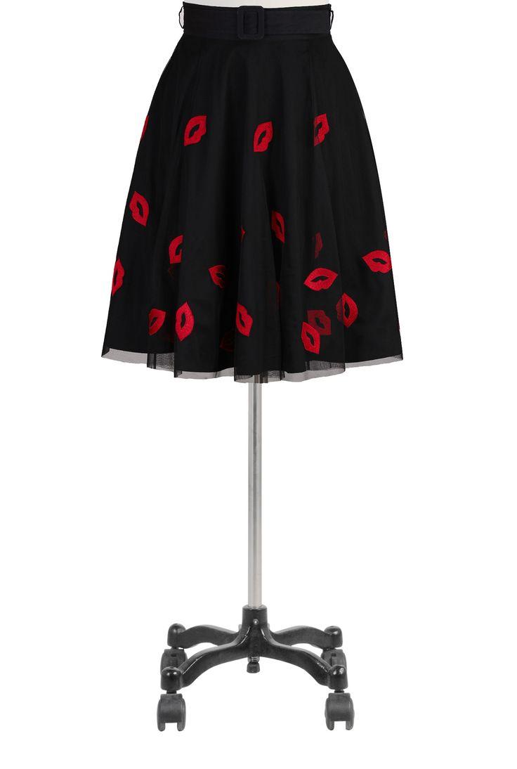 Red Lip Tulle Full Circle Skirt