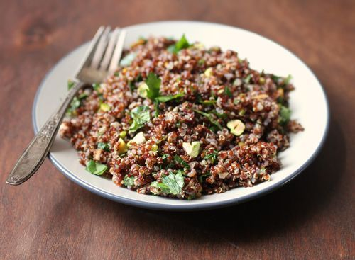 Red Quinoa with Pistachios. If this is diet food, sign us up!
