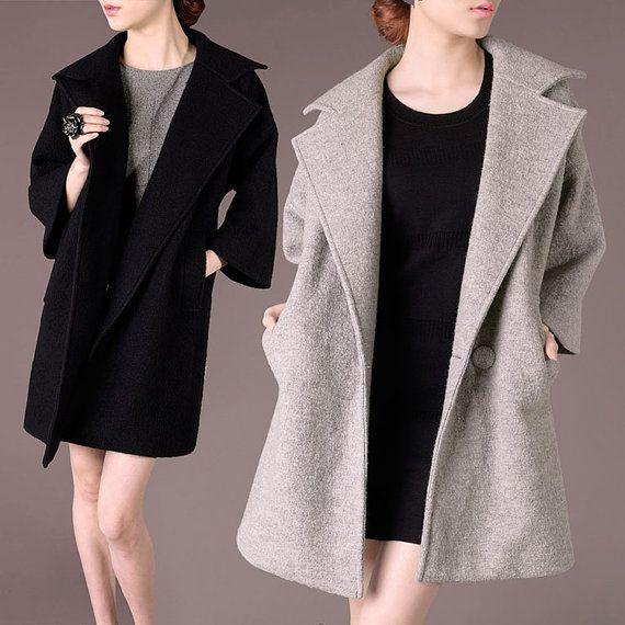Women black coat 100% Wool Coat Outerwear Coats long down coat windbr
