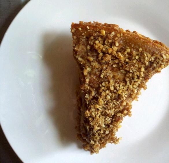 pumpkin pie with walnut/cinnamon/sugar topping