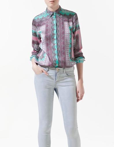 Zara Scarf Print Blouse Ebay 68