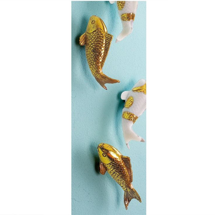Set of ten koi fish wall decor available in 2 colors gold for Koi wall hanging