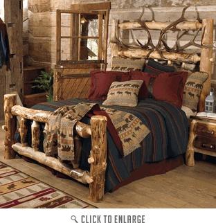 Elk Antler Aspen Log Bed King Homemade Beds Pinterest