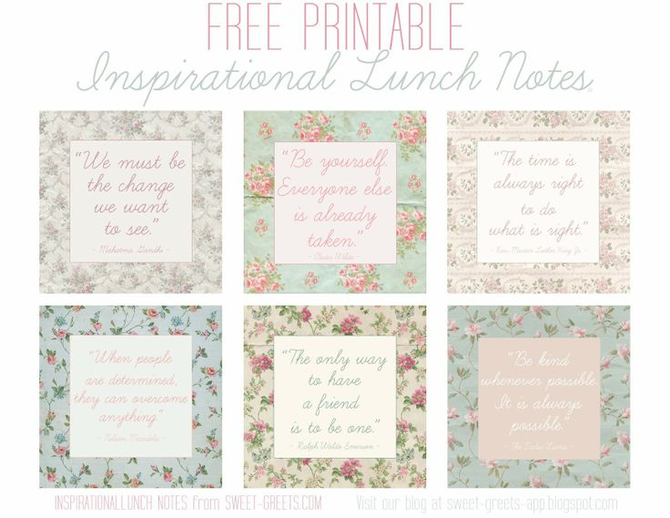 Free Printable Inspirational Lunch Notes | Printables | Pinterest