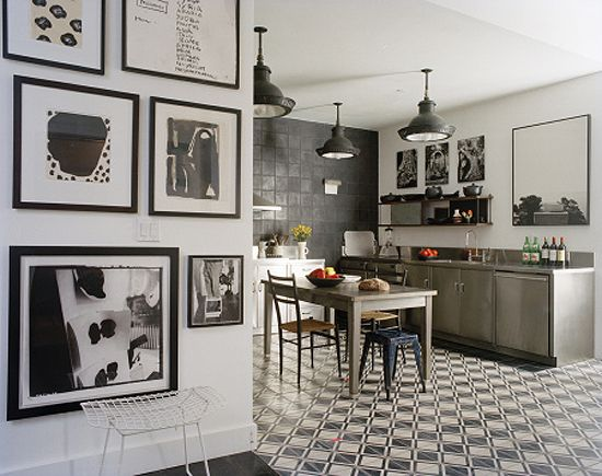 kitchen with encaustic cement tiles - photo by François Halard #kitchen #tile