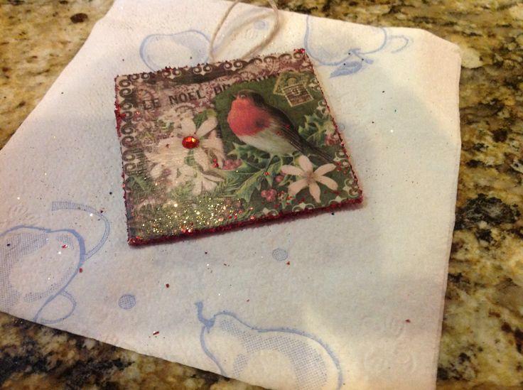 Wooden cut out, decoupage paper | Christmas ornaments | Pinterest