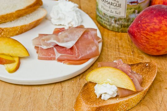 Simple, special party appetizer--proscuitto and peach bruchetta