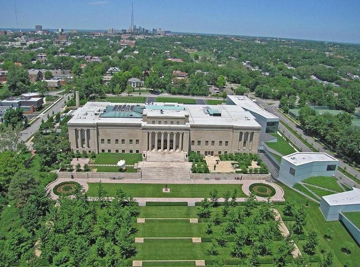 """""""Nelson-Atkins Museum, Kansas City, Indiana"""" in 1930 by architecture firm Wight and Wight, consisting of the brothers Thomas (1874-1949) and William (1882-1949). The neoclassic structure was made of warm buff limestone with a rosy cast, quarried in Nelson's home state of Indiana. William Rockhill Nelson (1841-1915) was a real estate developer and founder of newspaper The Kansas City Star. He donated his estate (and home) for the establishment of the Museum."""