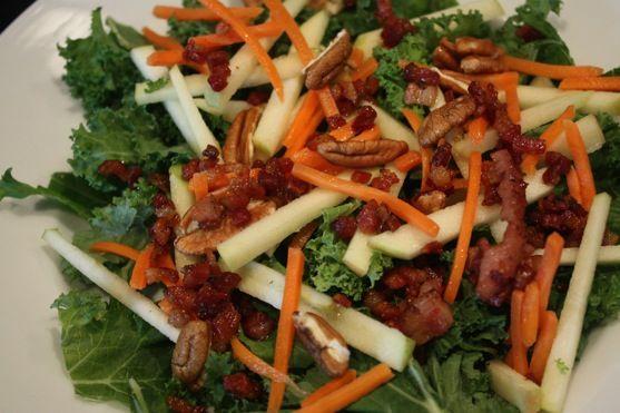 Kale Apple and Pancetta Salad | Great Salads | Pinterest