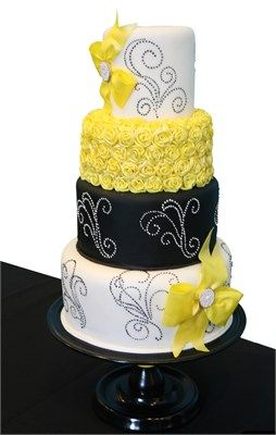 yellow, black and white wedding cake.... Would love with gray instead ...