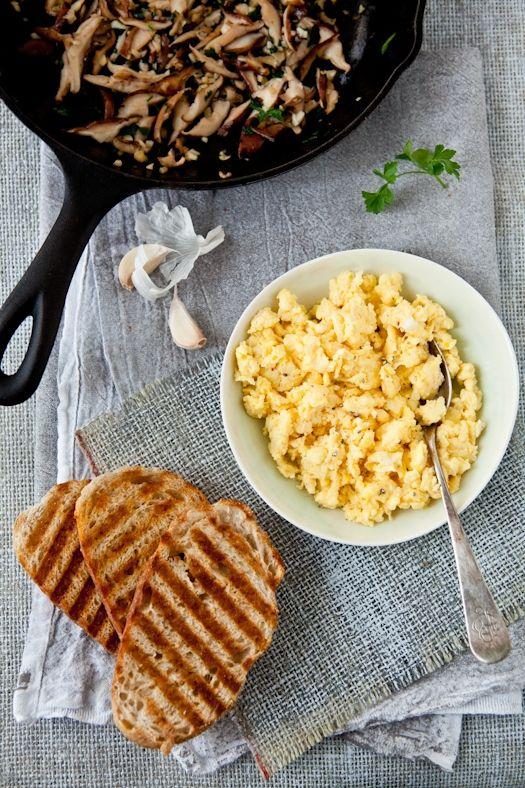 Scrambled Egg Tartines With Parsley & Garlic Mushrooms