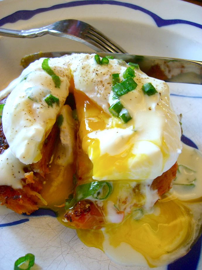 Sweet Potato Cakes with a Poached Egg and Lemony Yogurt Sauce