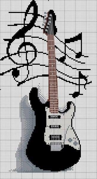 Схемы вышивок крестом гитар