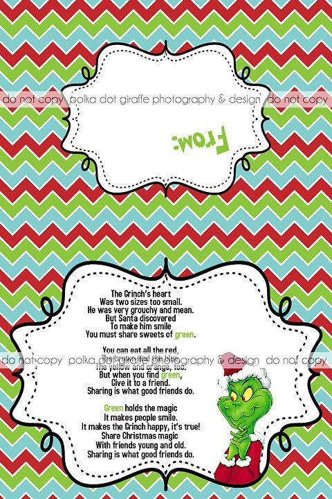 Grinch's Heart Poem Christmas Treat Bag Topper {4x3 when folded} on ...
