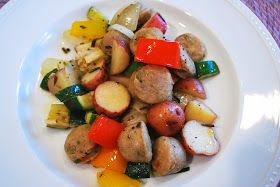 ... : One-Pan Meal: Chicken Sausage with Potatoes and Summer Vegetables
