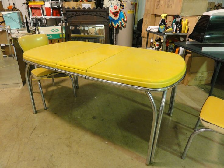 1950 39 S Dinette Set Retro Vintage Kitchen Chrome Yellow Chairs Yello