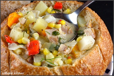Farmers Market Smoked Fish, Corn & Vegetable Chowder