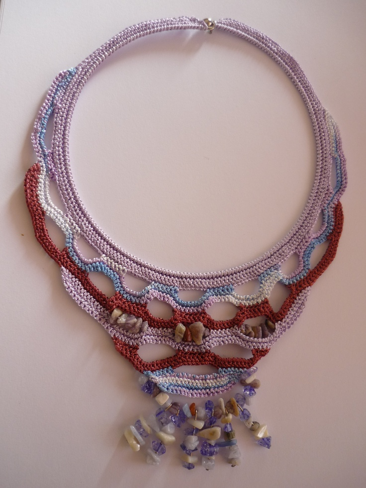 Crochet With Beads : crochet necklace with bead Crochet Necklace Pinterest