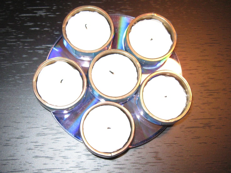 Tea light  - made out of old set of napkin rings & stack of defunct CDs