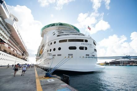 Freedom of the Seas docked in St. Maarten.
