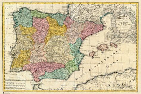 Spain Old Map Photo at AllPosters.com