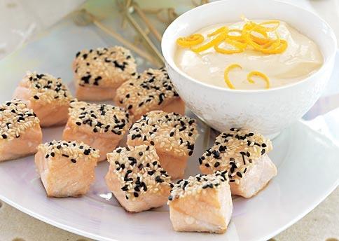 Sesame-crusted salmon with orange-miso sauce