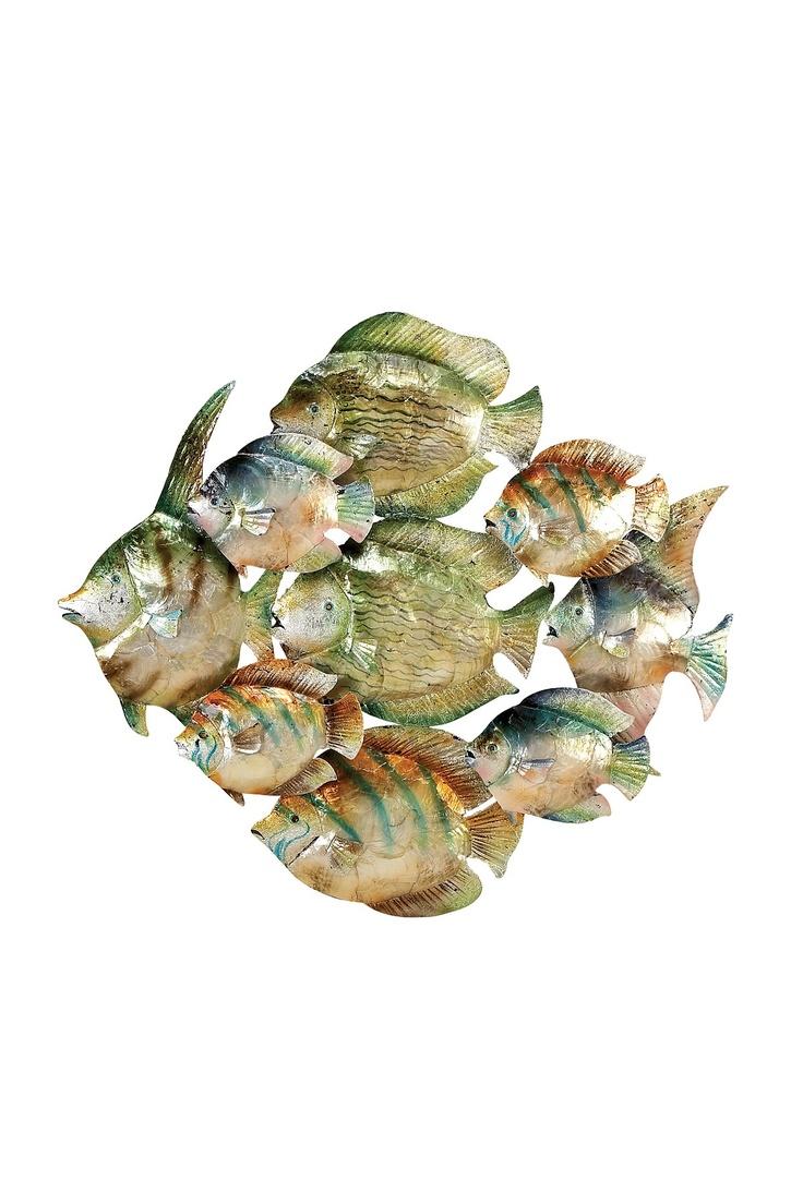 Wall Decor Metal Fish : Metal capiz shell fish wall decor