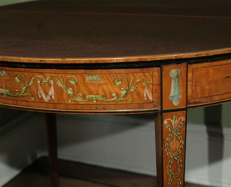 Sheraton period painted satinwood card table, c.1780 image 6