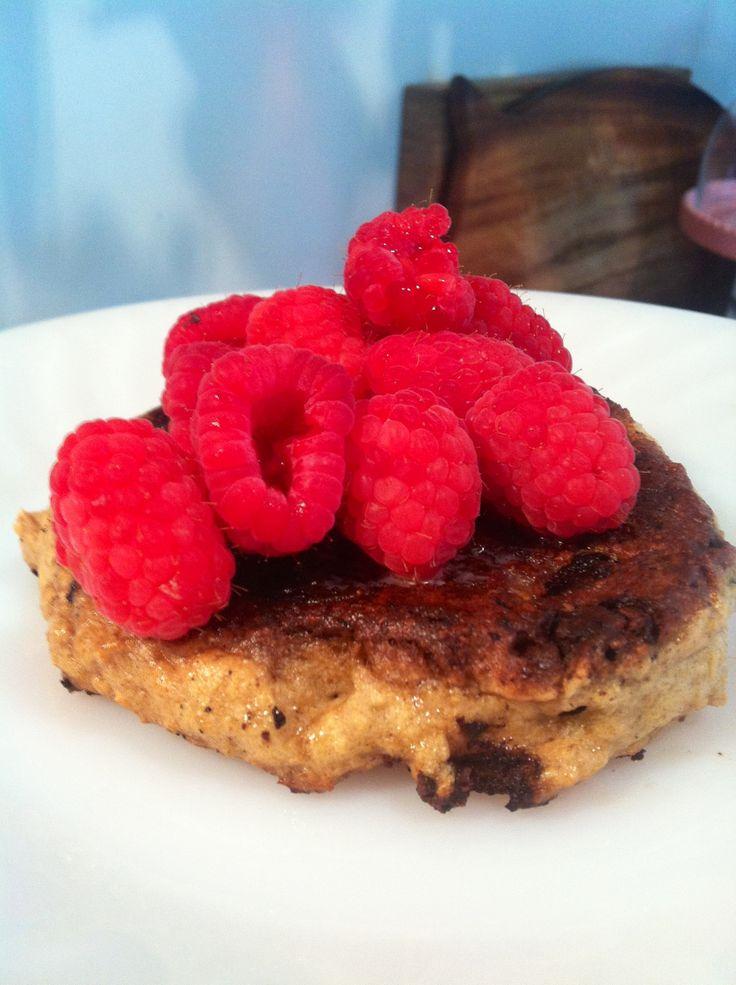 cinnamon ~ oat chocolate chip pancakes w/ raspberries on top} In ...