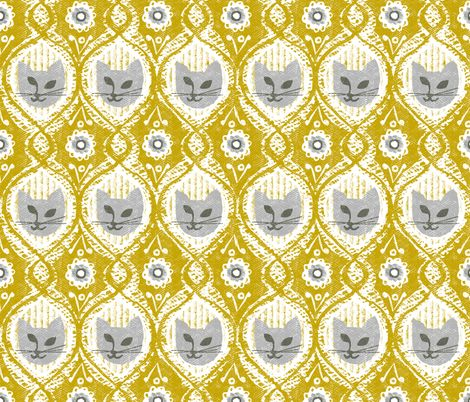 Grey cat, pattern, spoonflower, ottomanbrim, kitty