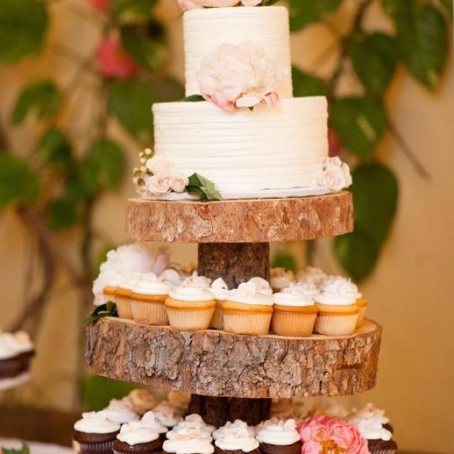 Embracing nature. Great idea for cake stand.