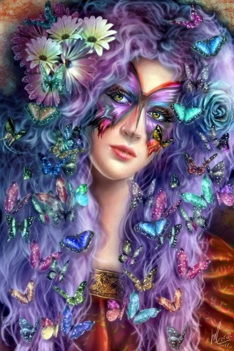 beautiful woman with butterflies
