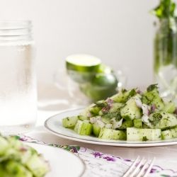 Refreshing Cucumber Salad with Creamy Mint Dressing...great on a hot ...