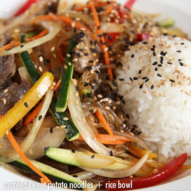 Bowl (Japchae). Sautéed Glass Noodles + Rice Bowl(Japchae) and kale ...