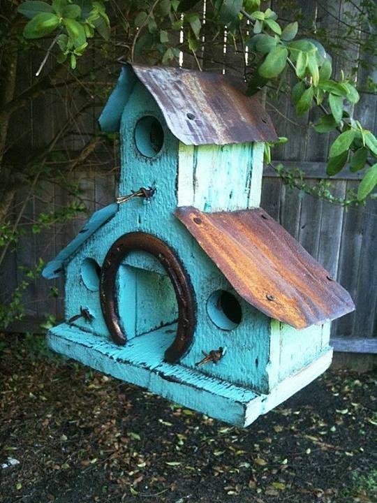 Rustic turquoise barn wood birdhouse w rusted metal roof - Old barn wood bird houses ...