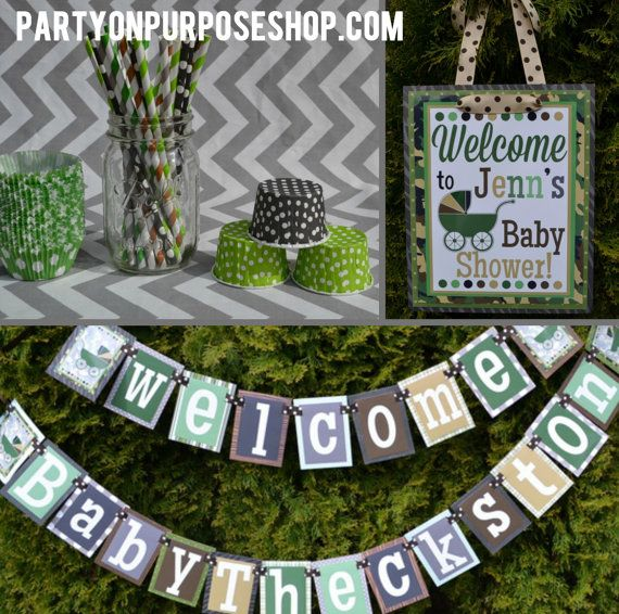 camouflage baby shower decorations package