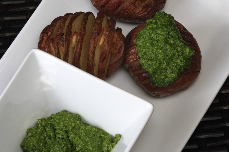 Hasselback Potatoes with Spinach Cashew Pesto photo