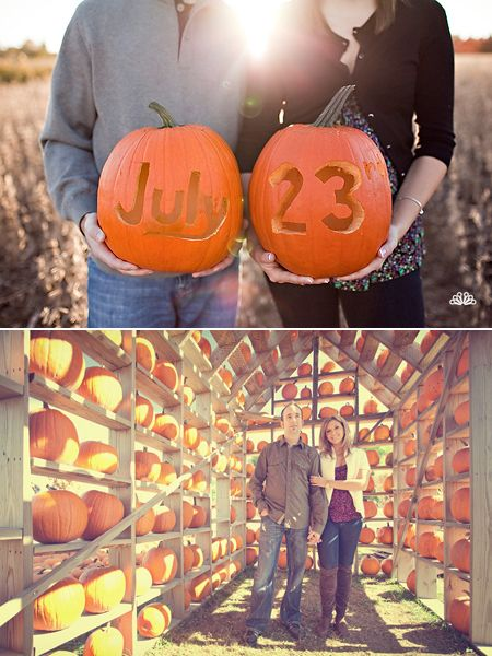 pumpkin patch engagement photos... perfect for a fall wedding!